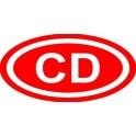 Naklejka CD typ 84 czerwone biały połysk