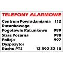Naklejka Telefony Alarmowe 29x19cm