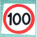 Naklejka ograniczenia prędkości 100 kmh czerwona obwódka