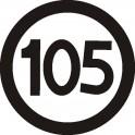 Naklejka prędkość max 105 B połysk