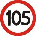 Naklejka prędkość max 105 R  połysk