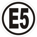 Benzyna E5 naklejka 5x5cm